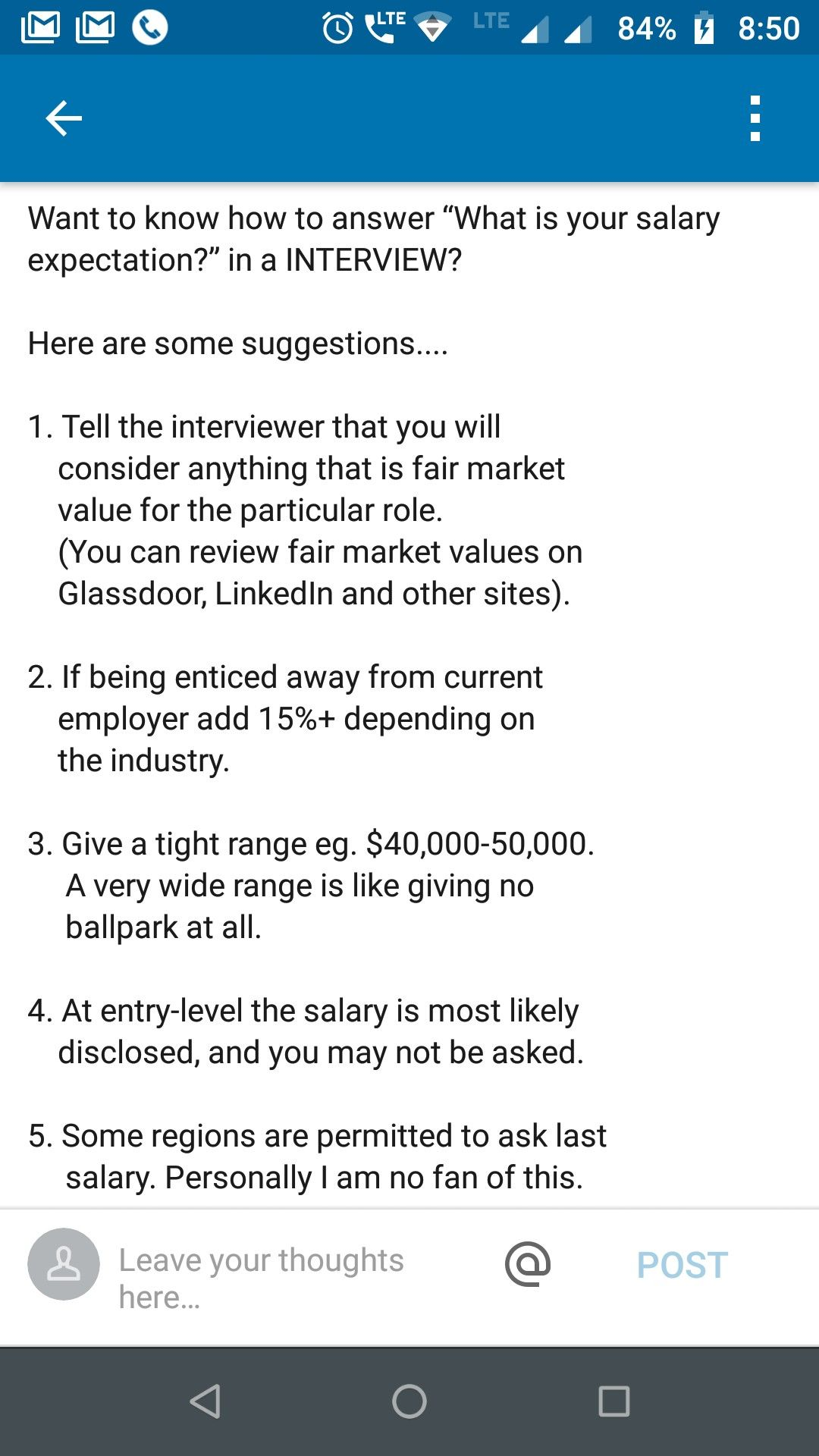 Salary expectations interview question LinkedIn