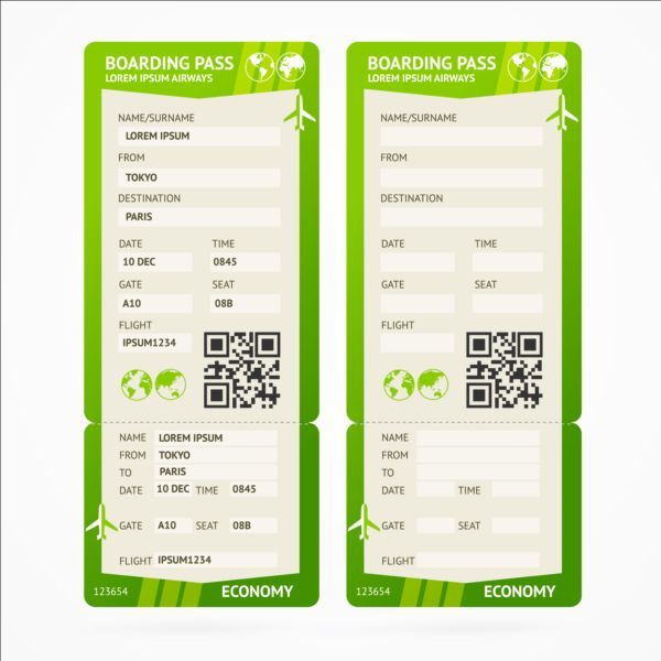 Airline tickets template design vector 05 airline ticket - design tickets template