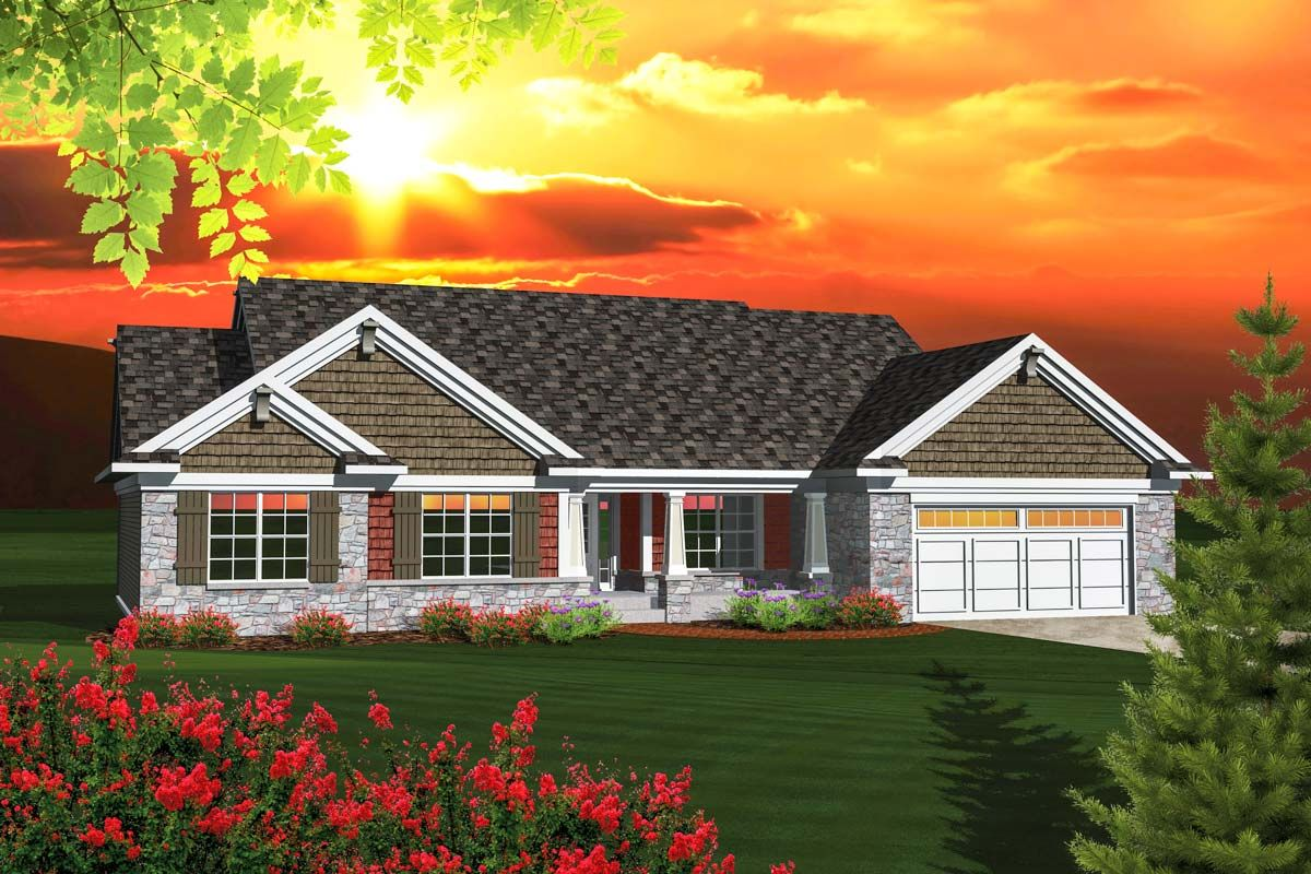 Plan 89848ah Affordable Ranch Home Plan With Gabled Roof Craftsman Style House Plans Ranch House Plans New House Plans
