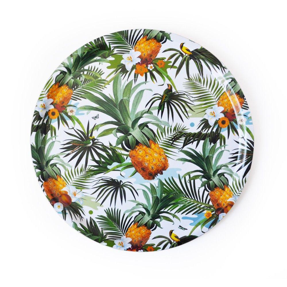 plateau rond ananas gm 40 euros tropical style. Black Bedroom Furniture Sets. Home Design Ideas