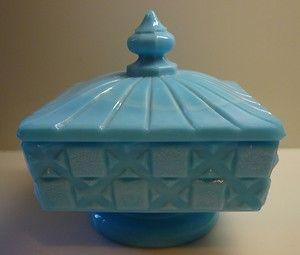 "Vintage Westmoreland ""Old Quilt"" Blue Milk Glass Jar Box with Lid Checkerboard | eBay"