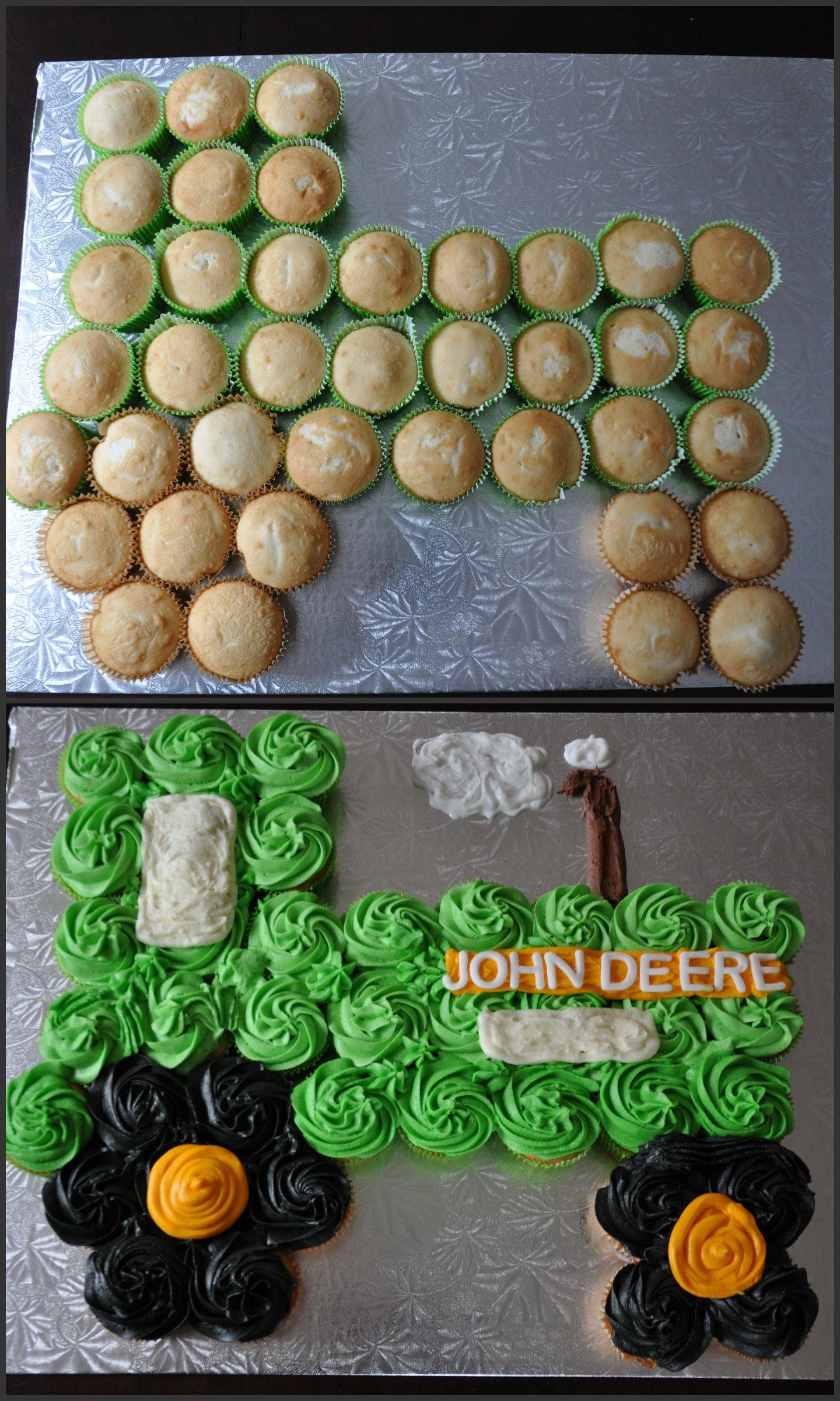 John Deere Tractor Cupcake Cake for my sons 7th birthday