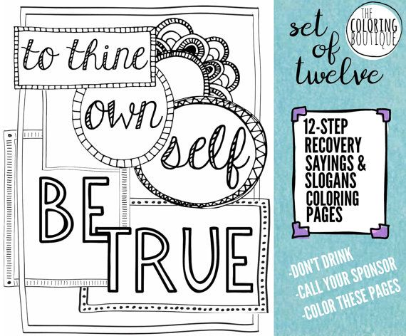 Recovery Coloring Pages 12 Steps Coloring Instant Downloads Jpeg And Pdfs Printable Sayings And Slogans 8x10 Coloring Pages Colouring Printables Slogan