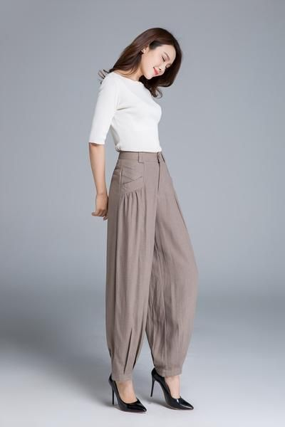 fada1a4872eed FEATURES   Soft linen pants  light brown color  button front closure   pockets each side  all season pants  smart casual style  Length approx 95  cmSIZE ...