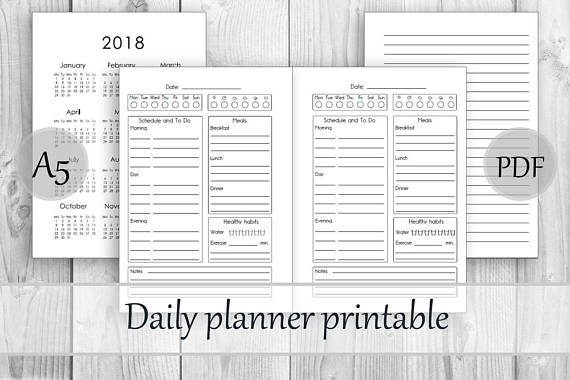 Daily Planner Undated Planner Printable Daily Calendar Insert