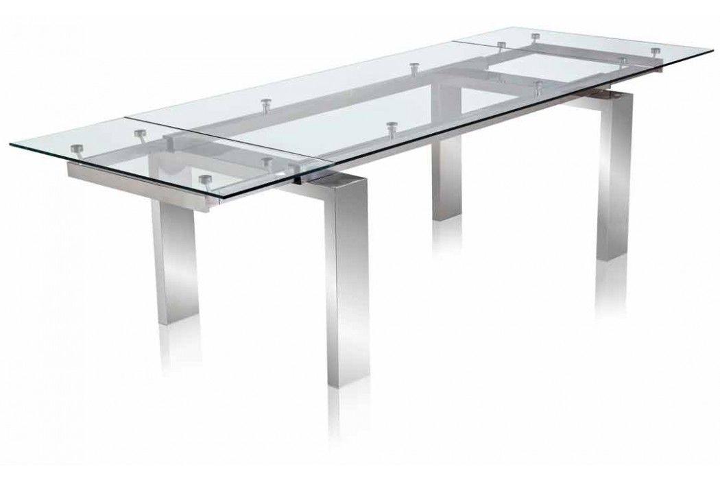 nabu glass extendable modern dining table clear | apartment ideas