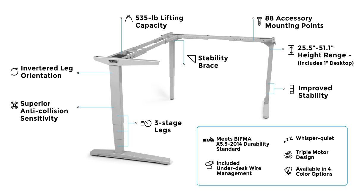 UPLIFT V2 L-Shaped Standing Desk Frame | Standing Desks in