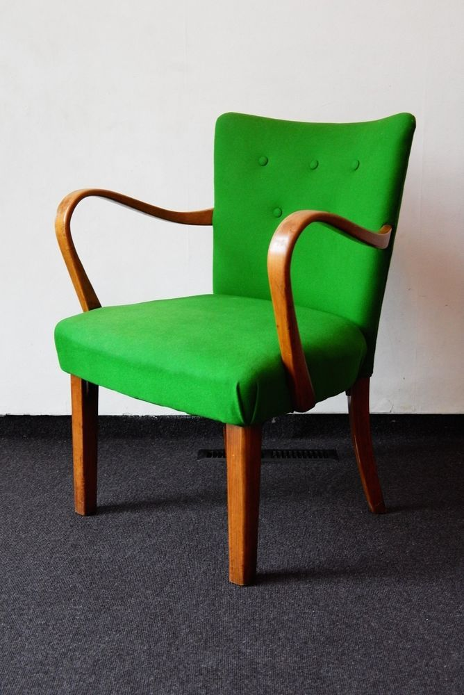 Original Thonet 1940s Bentwood Chair, Reupholstered In Green Baize