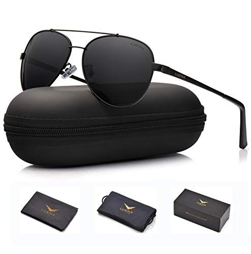 ecc770cb2c969 LUENX Men Women Aviator Sunglasses Polarized Non-Mirror Black Lens Black  Metal Frame with Accessories