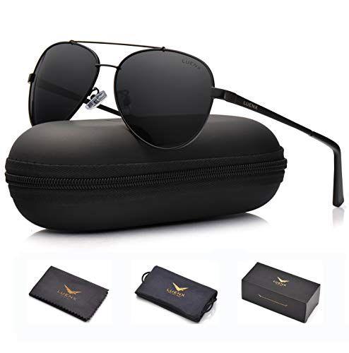 964dcec00e LUENX Men Women Aviator Sunglasses Polarized Non-Mirror Black Lens Black  Metal Frame with Accessories