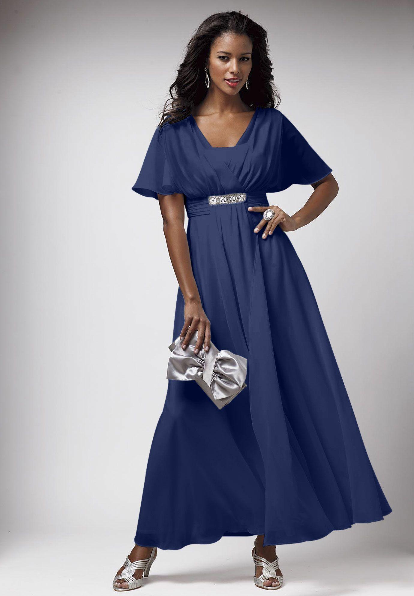 Plus Size Jeweled Chiffon Gown | Plus Size Dresses | Roamans