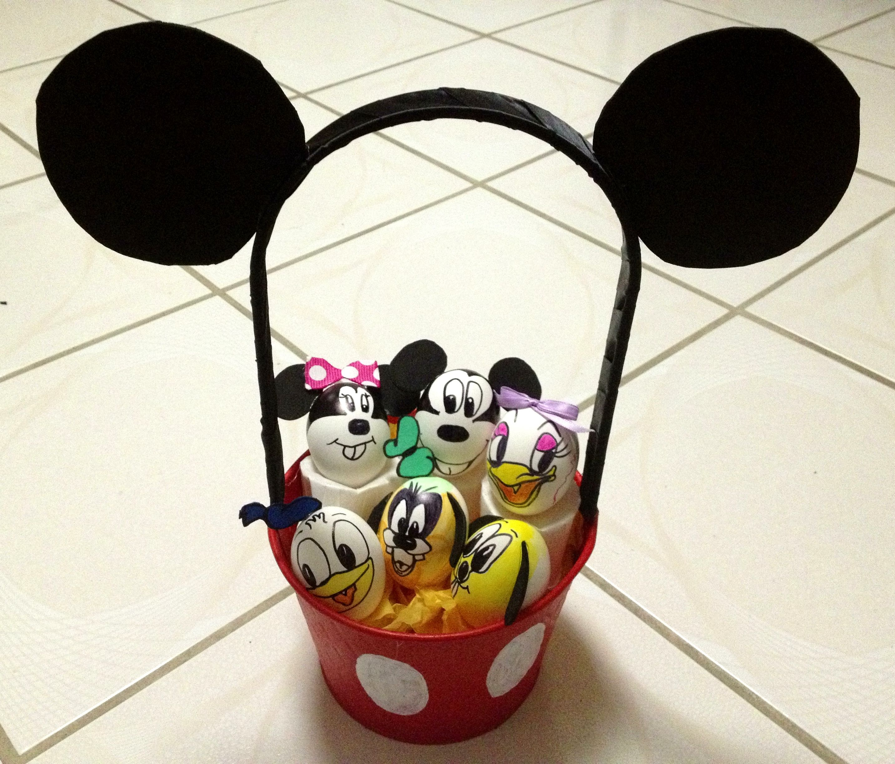 diy mickey mouse easter basket with disney egg characters my daughters imagination for an easter