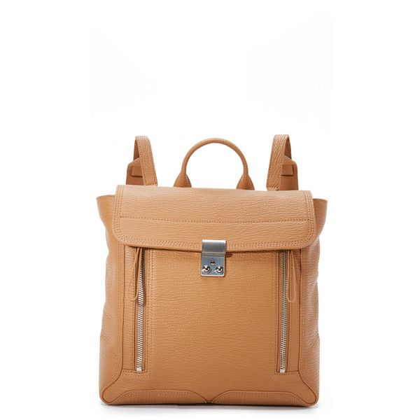 3.1 Phillip Lim Pashli Backpack ($910) ❤ liked on Polyvore featuring bags, backpacks, tan, zipper bag, tan leather backpack, leather bags, leather zipper backpack ve leather zip backpack