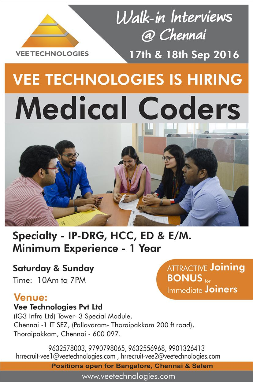 Walkin Interview for Medical Coders Chennai. Date