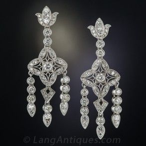 Edwardian style platinum diamond chandelier earrings jewelry edwardian style platinum diamond chandelier earrings mozeypictures Images
