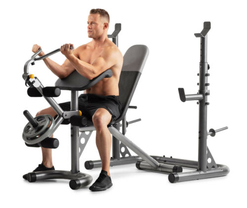 Olympic Workout Bench Squat Rack Xrs 20 Weider Gold S Gym New 43619568134 Ebay In 2020 Squat Rack Golds Gym Adjustable Workout Bench