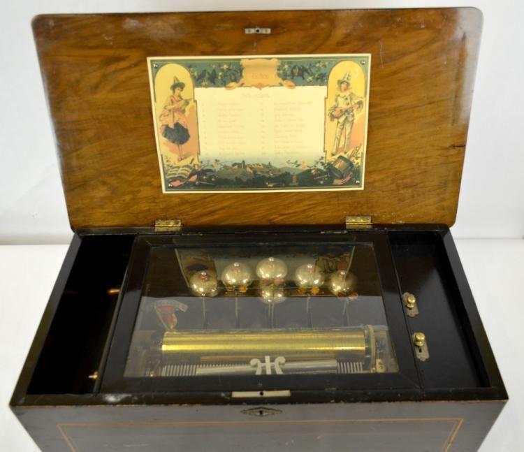 19th Cen. Swiss Wood Music Box w Bell & 20 Songs