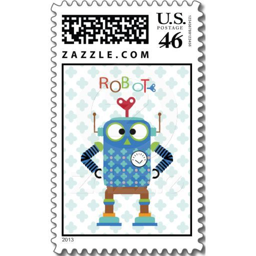 Trendy Robot in Blue Stamps