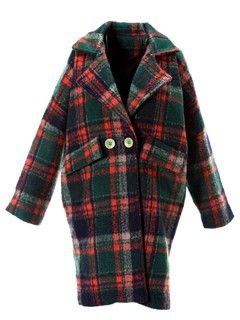 Shop Green Plaid Slit Button Long Sleeve Lapel Coat from choies.com .Free shipping Worldwide.$51.19