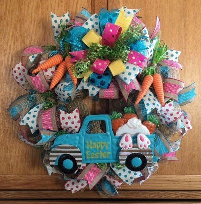 Photo of Easter wreath, Bunny Wreath, Bunny w / truck, Easter decor, wreath