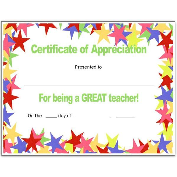 teacher appriecation certificates stars teacher s certificate for