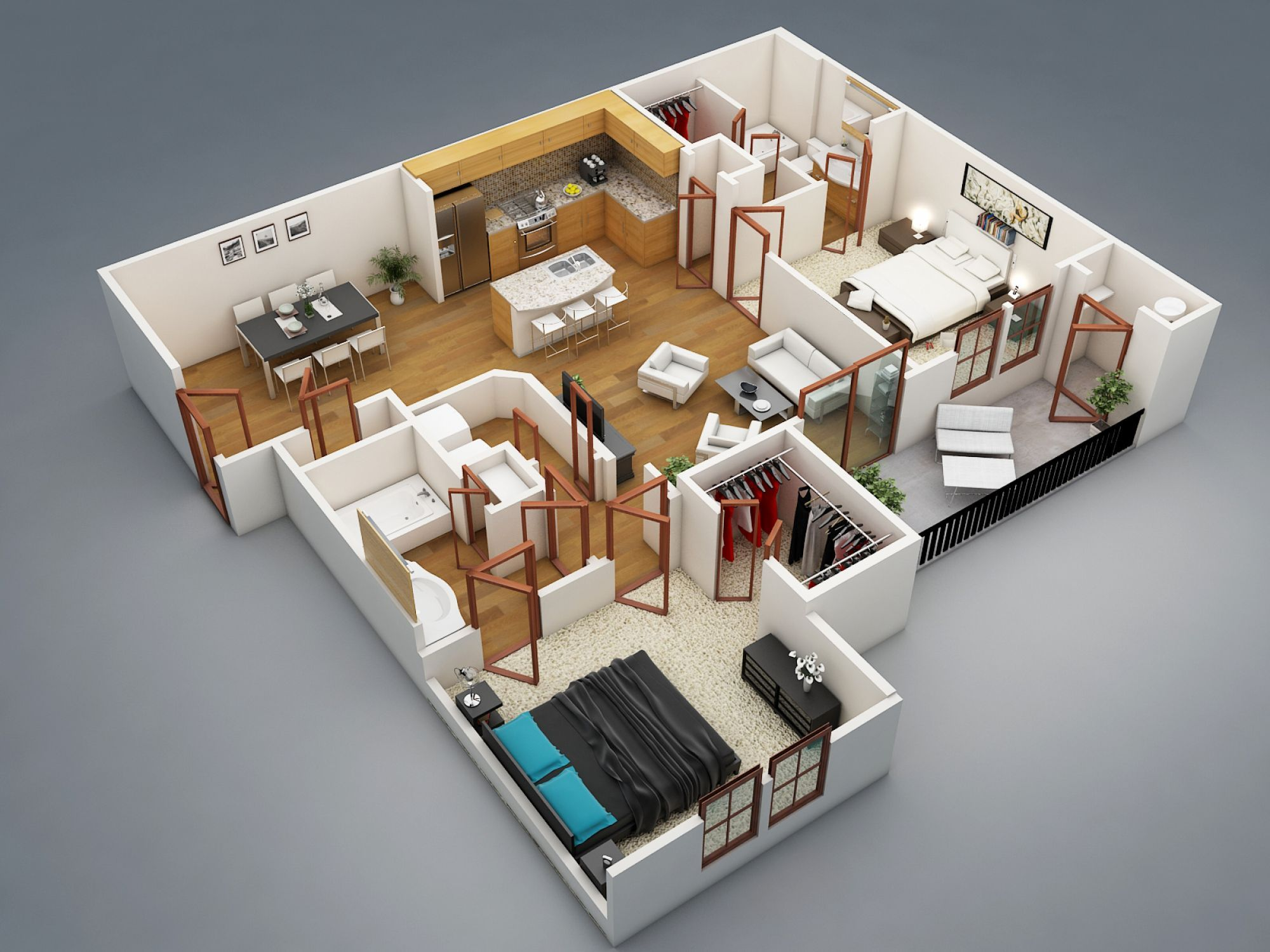 3d floor plan of 2 bedroom house 3d rendering on the basis of 2d