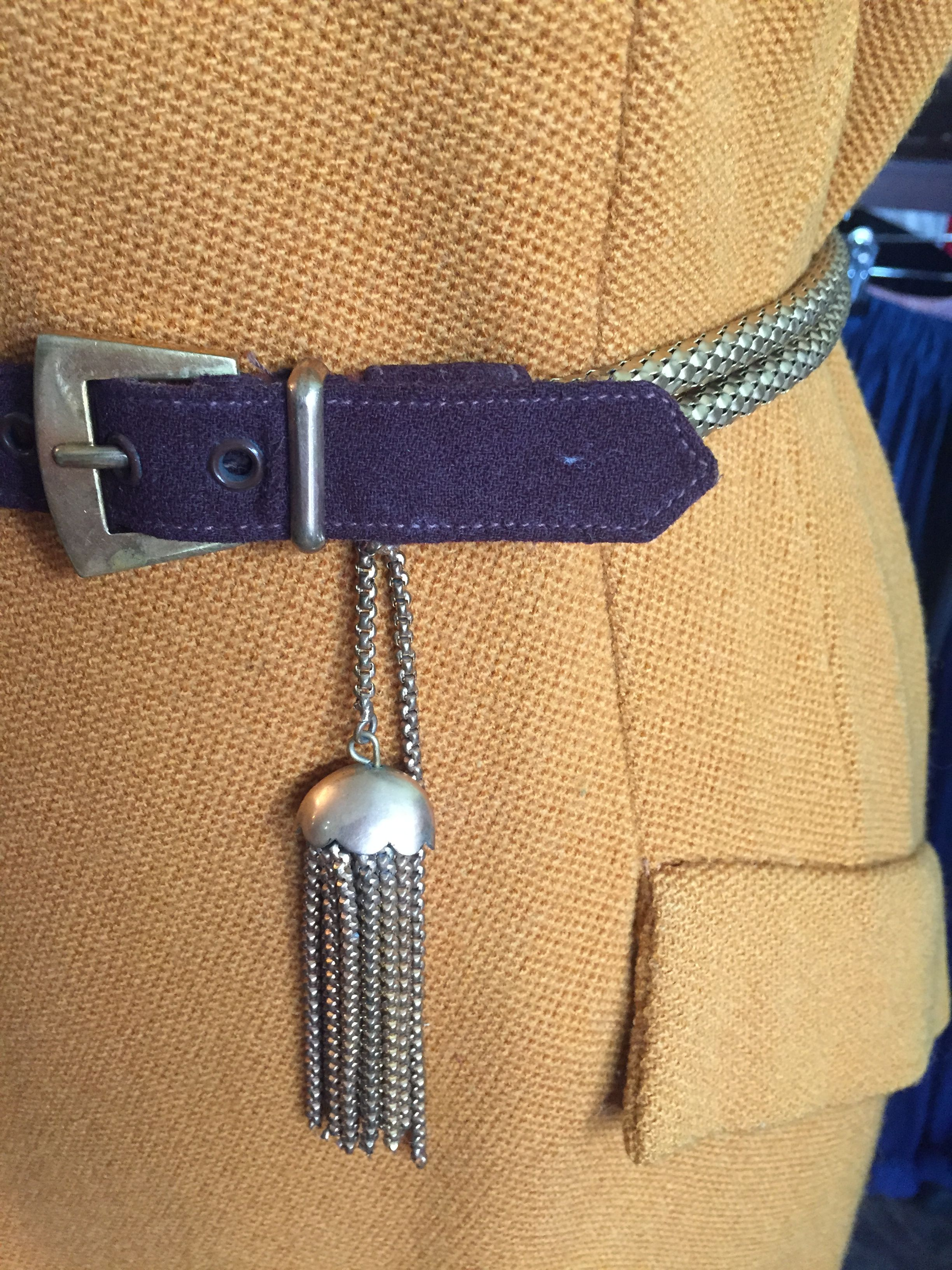 To Die For!! 1940s metal tassel belt with dual snake link length and brown suede fastening piece. Really lovely. Guide size 8-10.  £70 incl. p&p.