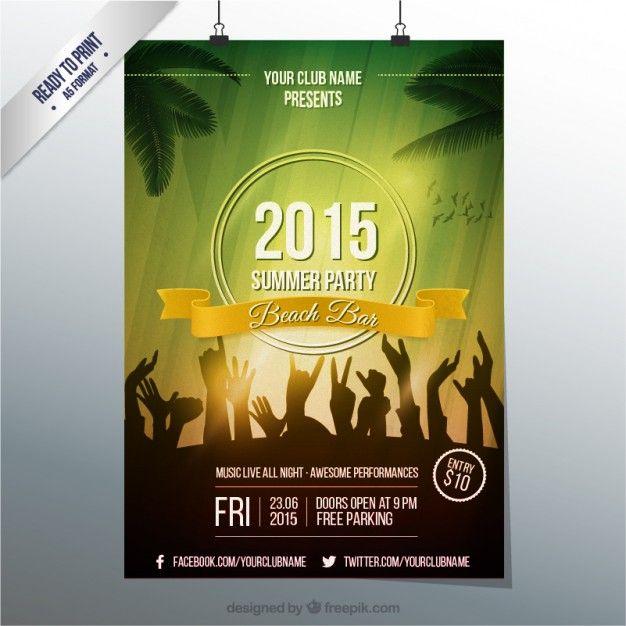 Plantillas editables perfectas para el verano Party poster and - free poster template word