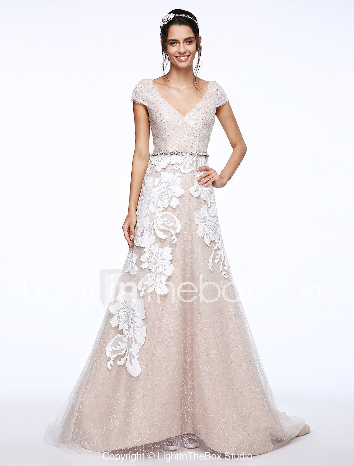 Lightinthebox wedding dresses  ALine Vneck Sweep  Brush Train Lace Tulle Wedding Dress with