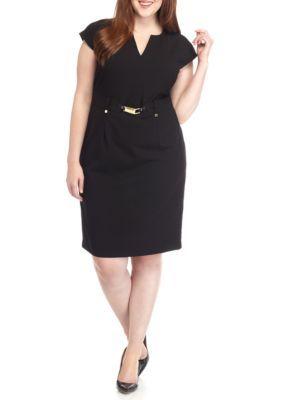 26dbd7c1022 Calvin Klein Black Plus Size Split-Neck Shift Dress Like the split neck and  the sleeves