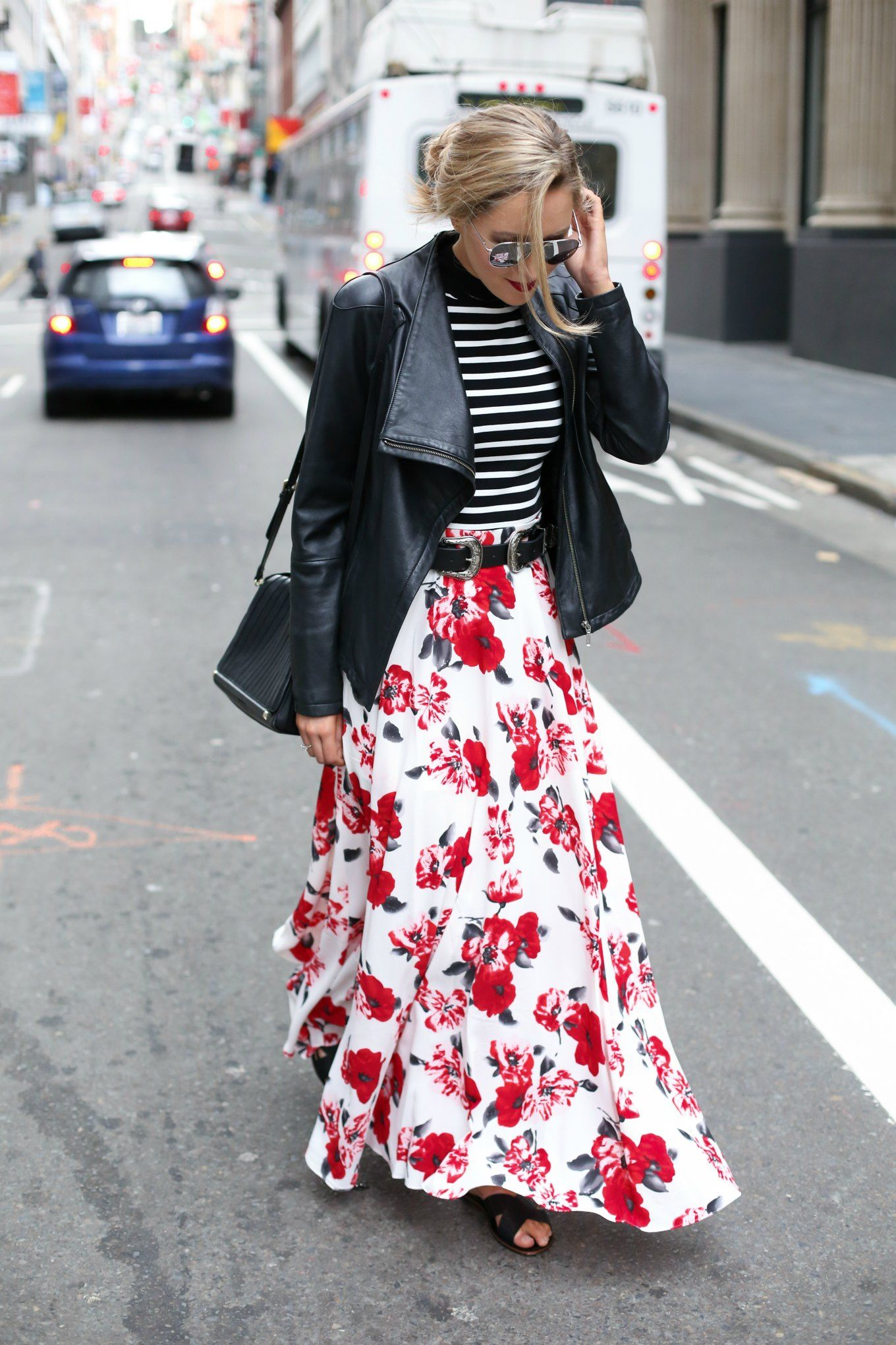 Floral Maxi Skirt and Striped Mock Neck Top - MEMORANDUM, formerly ...