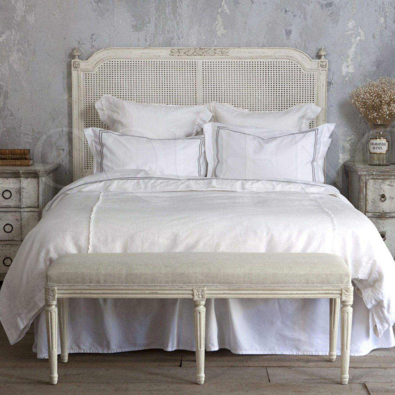 Blanka Cane Headboard In Antique White Finish Caned Headboard Furniture Bedroom Headboard