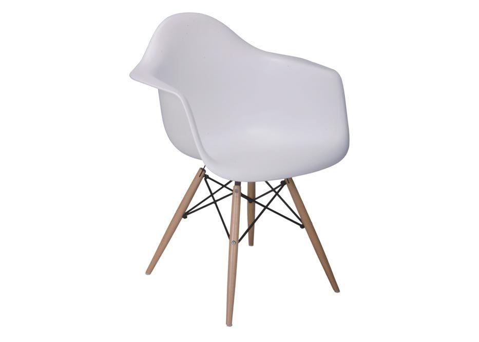 White Bucket Chair W/ Wood Legs