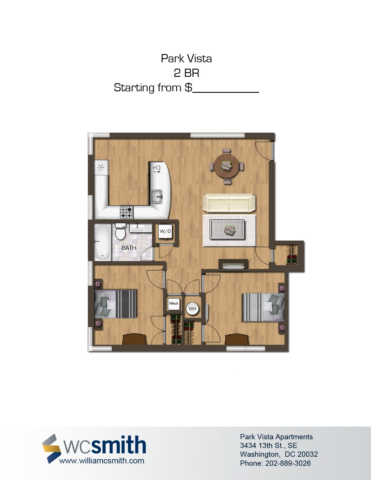 Two bedroom floor plan park vista in southeast washington dc wc smith dcapartments for 2 bedroom apartments washington dc