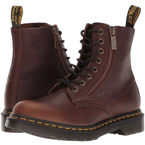 ad74727e4b1 Dr. Martens Pascal w/ Zip (Dark Brown Grizzly) Women's Boots (230 ...