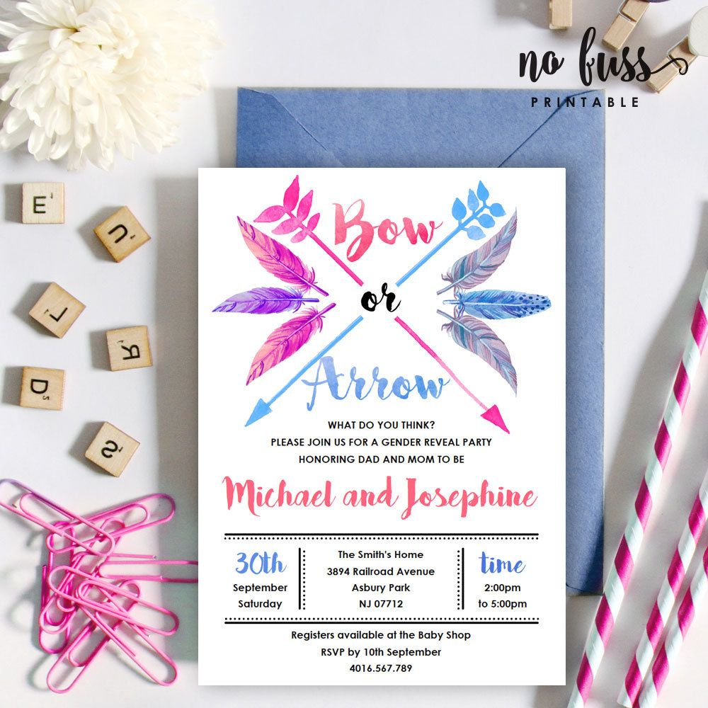 Bow and arrow gender reveal invitation boy or girl 5x7