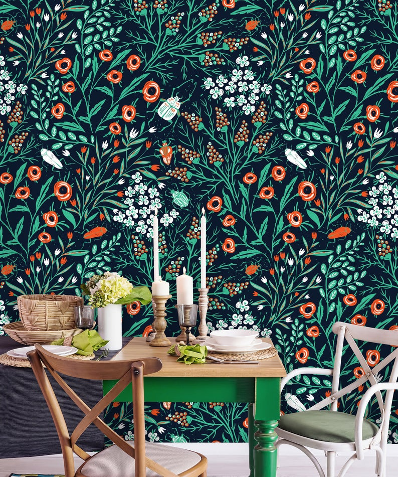 Removable Wallpaper Peel And Stick Floral Wallpaper Self Etsy In 2021 Modern Floral Wallpaper Floral Wallpaper Removable Wallpaper