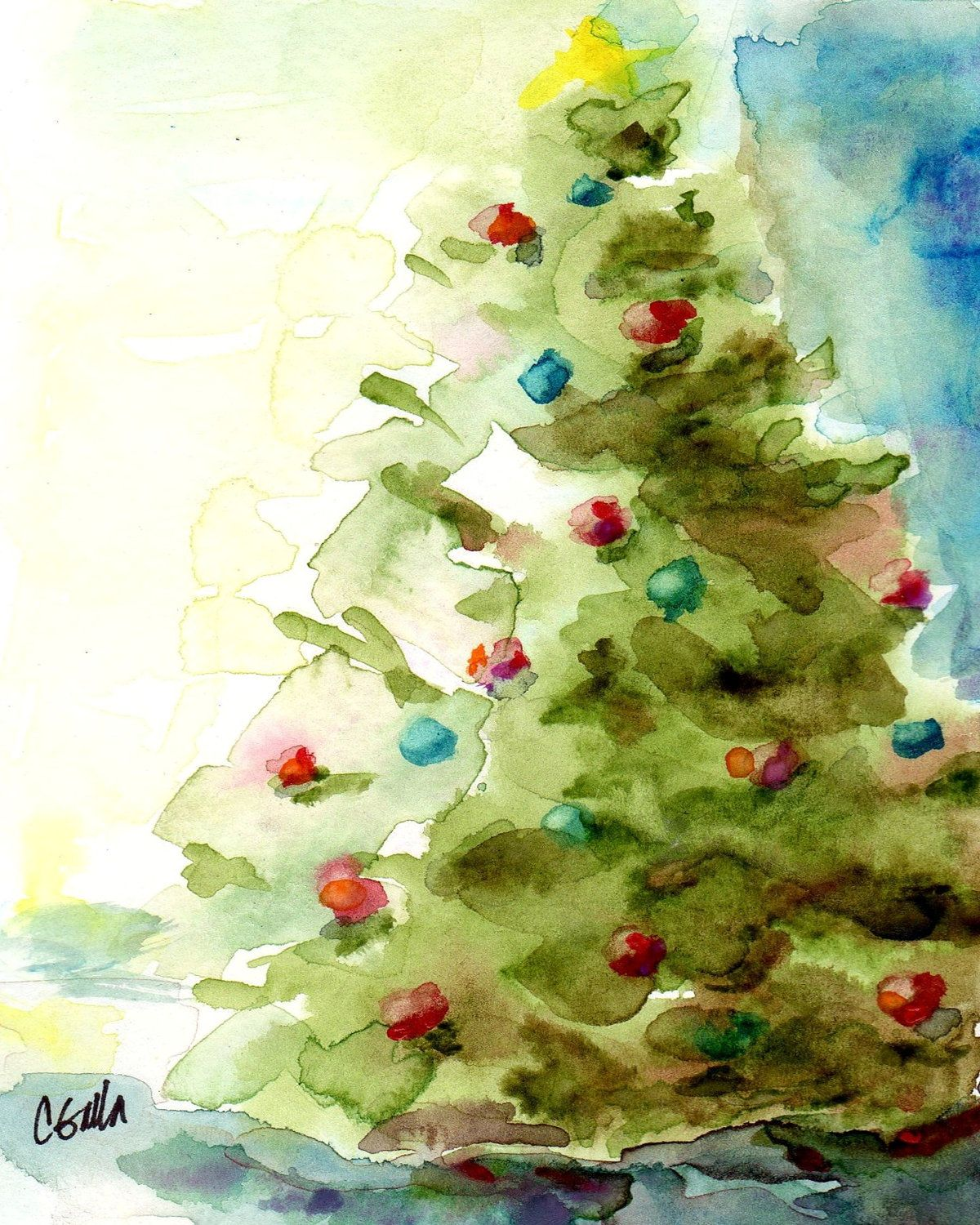Christmas tree holiday print from original watercolor Christmas card scenes to paint