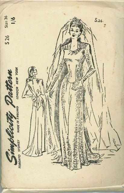 Vintage 1940\'s Bridal Gown Sewing Pattern by VintageSewSimplySewn ...