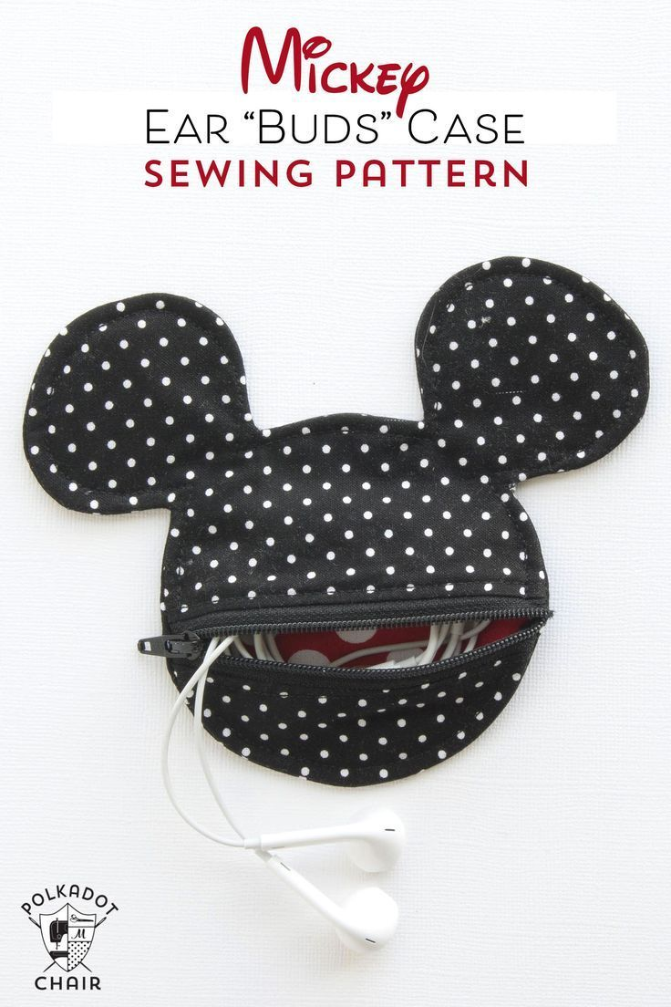 Mickey Mouse Inspired Earbud Pouch Sewing Pattern | Basteln
