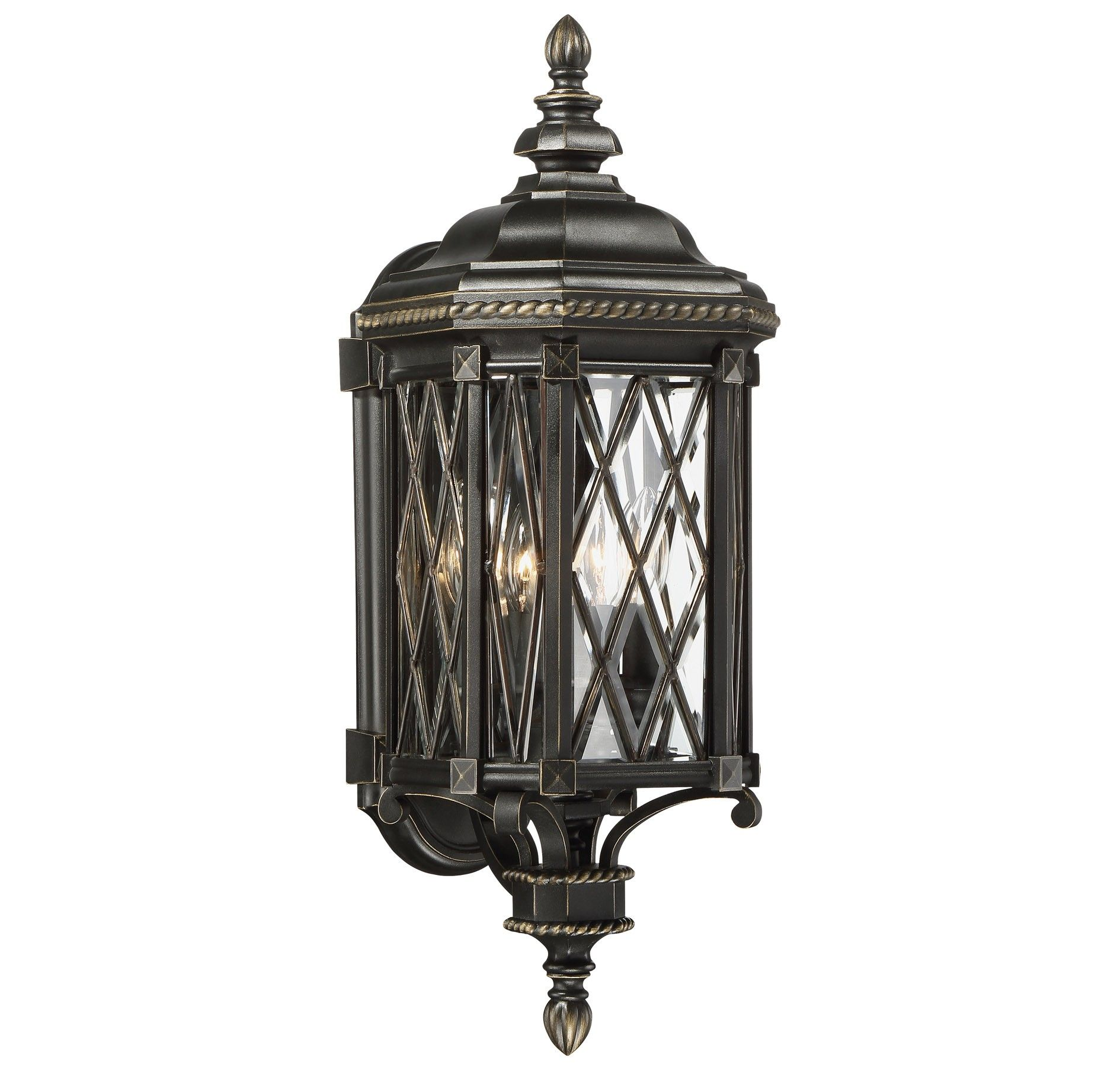 The great outdoors bexley manor 4 light outdoor wall lantern in black a stately outdoor lighting look is yours with the great outdoors bexley manor features clear glass a lattice pattern braided rope details mozeypictures Choice Image
