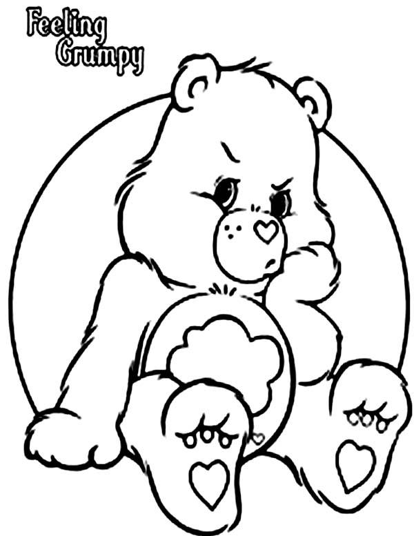 Grumpy Bear Is In Bad Mood In Care Bear Coloring Page Coloring Sun Bear Coloring Pages Coloring Pages Cute Coloring Pages