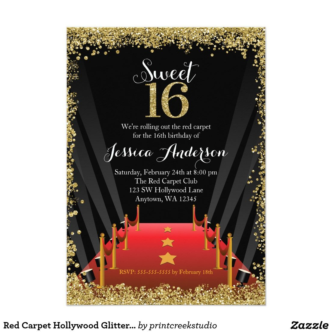 Red Carpet Hollywood Glitter Sweet 16 Birthday Card | Sweet 16 ...