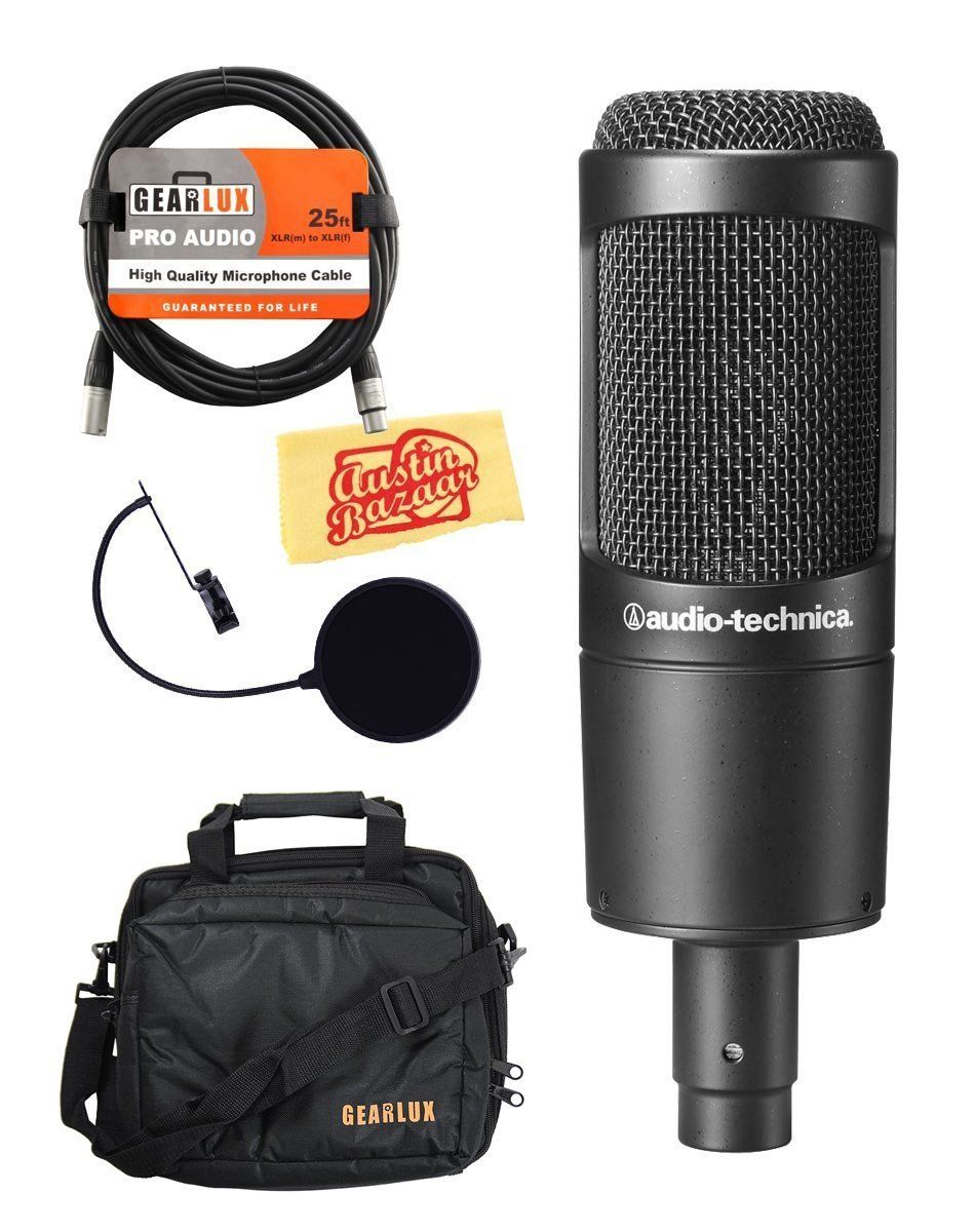 Audio Technica At2035 Cardioid Condenser Microphone Bundle With Gear Bag Pop Filter Xlr Cable Polishing Cloth Microphone Audio Technica Gear Bag