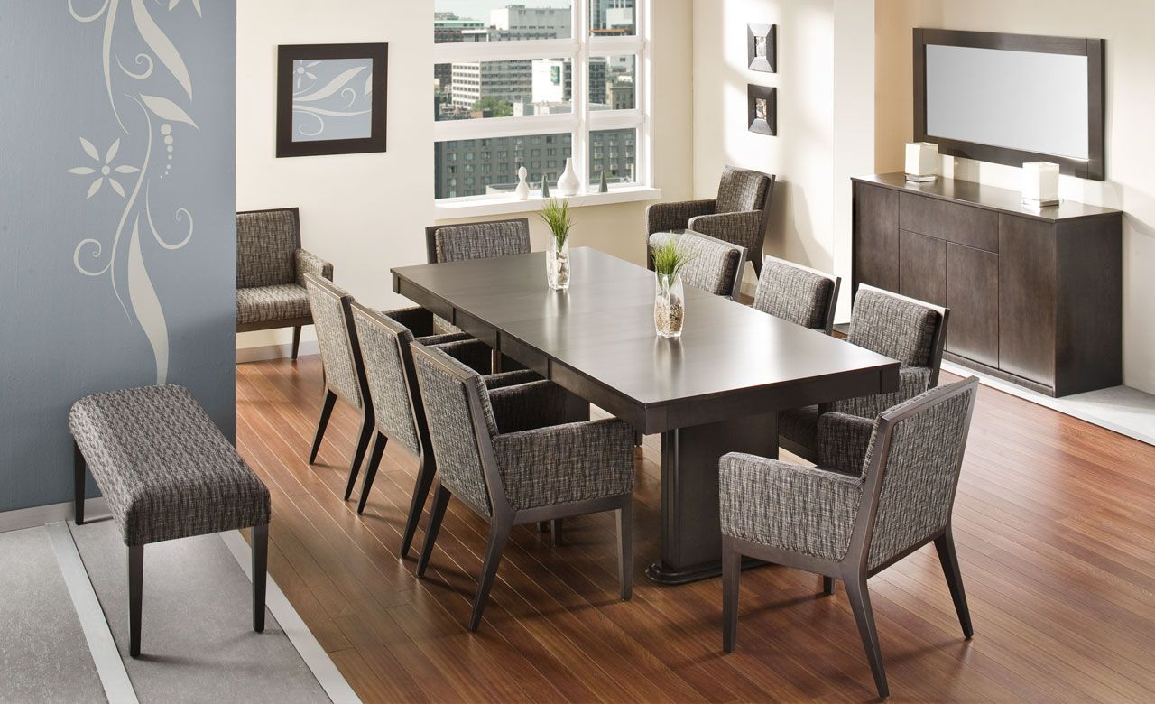 Contemporary solid wood dining table chairs made in canada