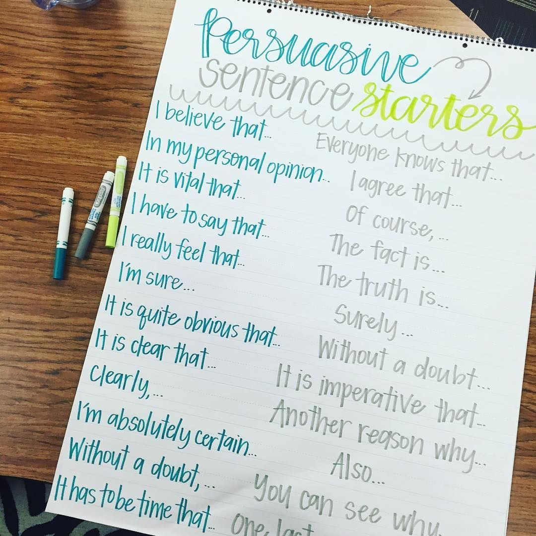 persuasive sentence starters anchor chart by miss l s busy bees getting to school almost an hour before the kids is prime anchor chart making time 128522 and thanks to texasteachingchicks for this chart idea