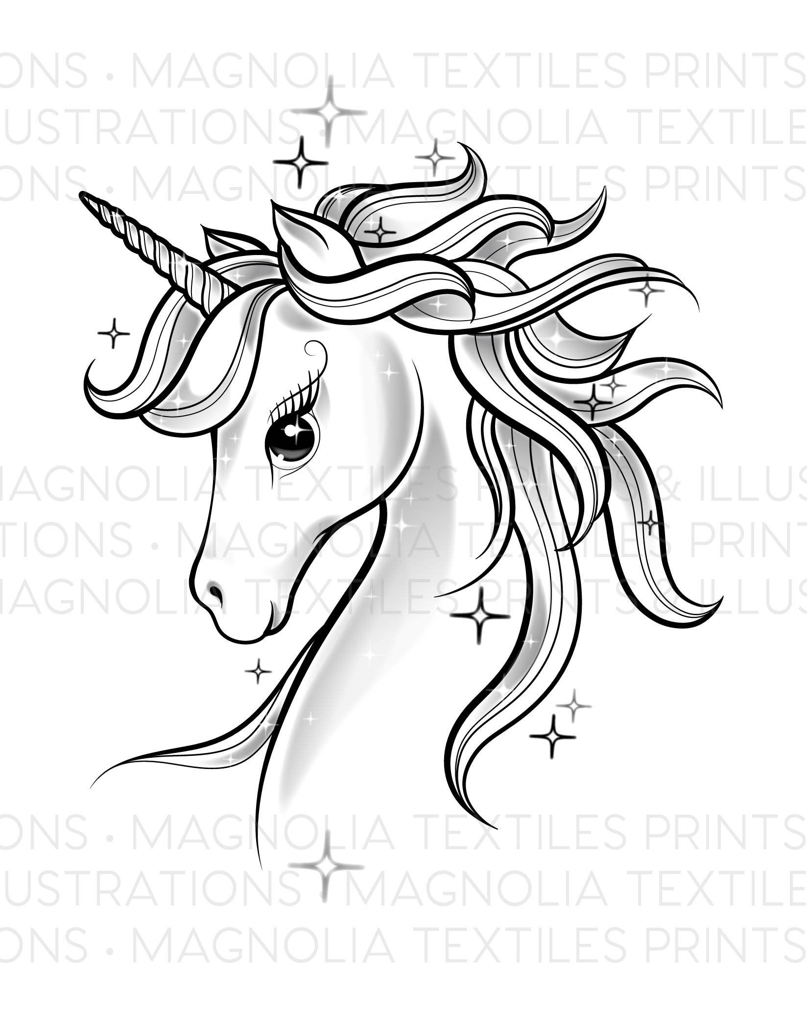 Unicorn Black And White Illustration Printable Unicorn Digital