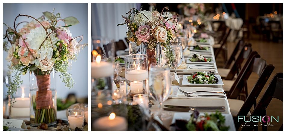 Detail shots of centerpieces and place settings at a wedding recepion