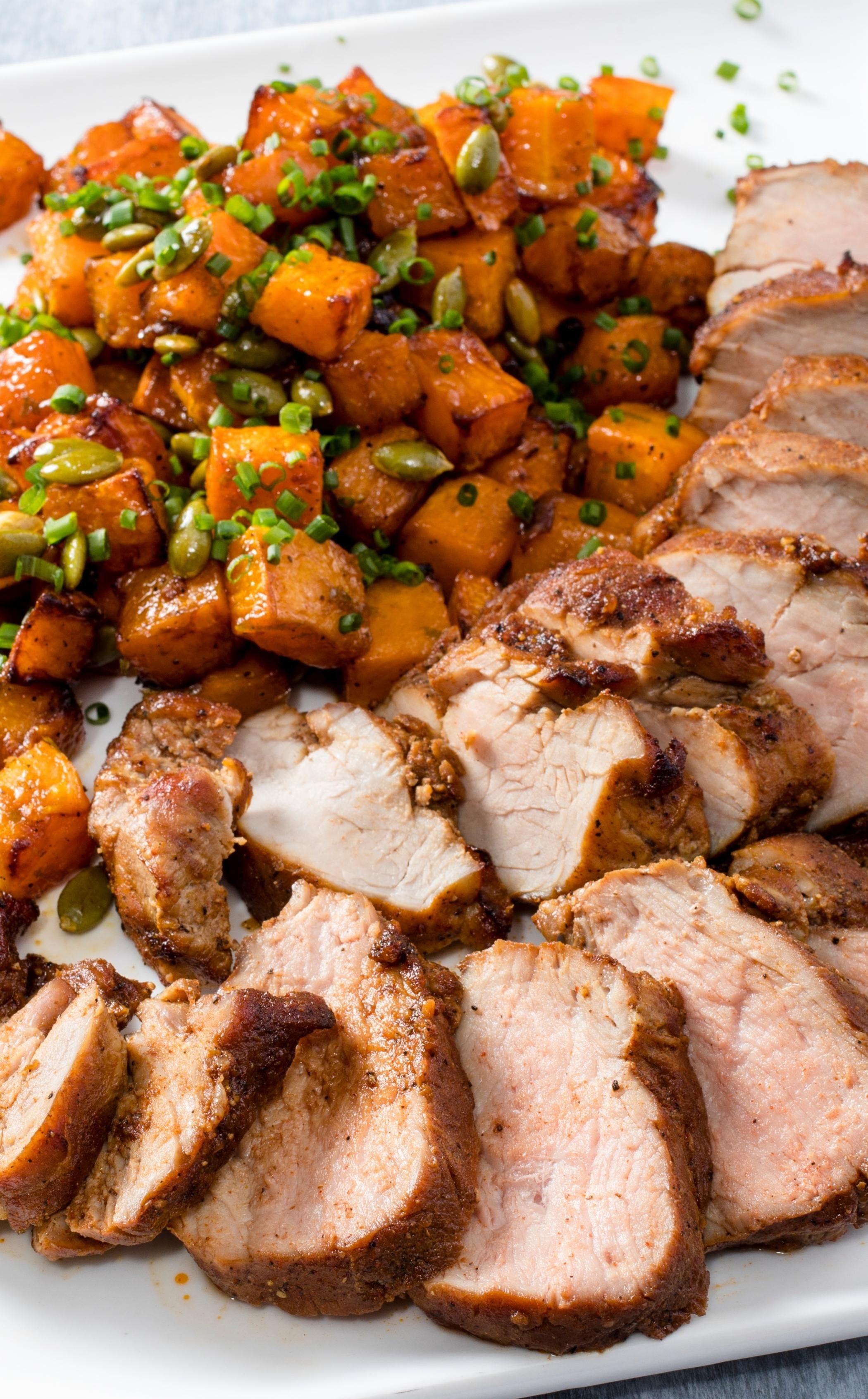 AirFryer Sweet and Smoky Pork Tenderloin with Butternut
