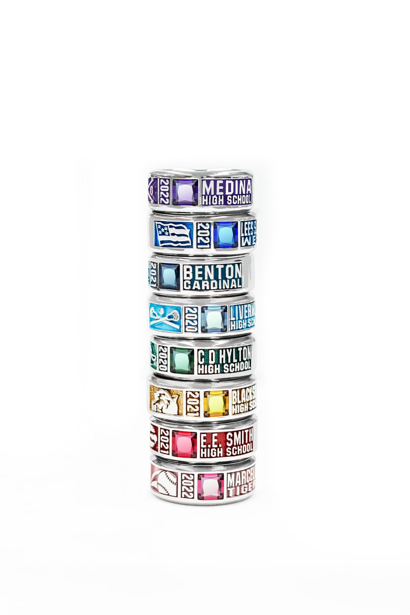 White Lustrium : white, lustrium, ChromaCast™, White, Lustrium, Customizable, Colorful, Unisex, Class, Jostens, Rings, School,